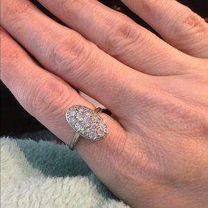 Jewelry - Oval ring with cz's in rhodium